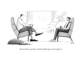 """Jessica tells me you have a Twitter following in the six figures."" - New Yorker Cartoon Premium Giclee Print by Julia Suits"