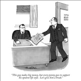 """This guy makes big money, but every penny goes to support his opulent lif…"" - New Yorker Cartoon Stretched Canvas Print by J.B. Handelsman"