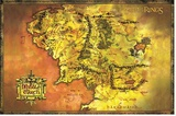 Lord of the Rings Map Reprodukce na plátně