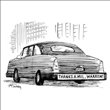 "Bumper sticker on car reads: ""Thanks a mil, Warren!"" - New Yorker Cartoon Stretched Canvas Print by Mike Twohy"