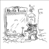 A healthfood store keeper is scattering salt substitute on the sidewalk ou… - New Yorker Cartoon Stretched Canvas Print by Sidney Harris