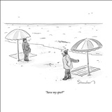 """Save my spot?"" - New Yorker Cartoon Stretched Canvas Print by Danny Shanahan"