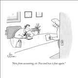 """New from accounting, sir. Two and two is four again."" - New Yorker Cartoon Stretched Canvas Print by Leo Cullum"