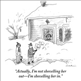 """Actually, I'm not shovelling her out—I'm shovelling her in."" - New Yorker Cartoon Stretched Canvas Print by Michael Maslin"