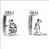 Title on both doors: IRS - New Yorker Cartoon Stretched Canvas Print by Lee Lorenz