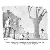 """I don't suppose you remembered the tax-deduction forms that I asked you t…"" - New Yorker Cartoon Stretched Canvas Print by Jack Ziegler"