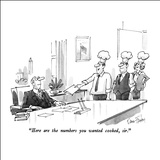 """Here are the numbers you wanted cooked, sir."" - New Yorker Cartoon Stretched Canvas Print by Dana Fradon"