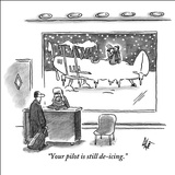 """Your pilot is still de-icing."" - New Yorker Cartoon Stretched Canvas Print by Frank Cotham"