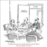 """I'm afraid I must concur with Dr. Hamilton and Dr. Movin. The cause of de…"" - New Yorker Cartoon Stretched Canvas Print by Henry Martin"