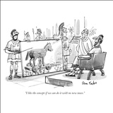 """I like the concept if we can do it with no new taxes."" - New Yorker Cartoon Stretched Canvas Print by Dana Fradon"