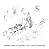 """And when did you first realize you weren't like other precipitation?"" - New Yorker Cartoon Stretched Canvas Print by Michael Maslin"