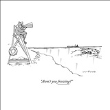 """Aren't you freezing?"" - New Yorker Cartoon Stretched Canvas Print by Michael Crawford"