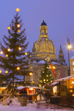 Christmas Market in the Neumarkt with the Frauenkirche (Church) in the Background Photographic Print by Miles Ertman