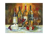 Botella de vino y queso Lámina giclée por Jennifer Garant