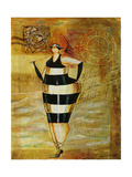 Vintage Beach Girl Black Stripes Giclee Print by Jennifer Garant