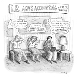 """E. R., ACME Accounting:  11:57 P.M., April 14th"" - New Yorker Cartoon Stretched Canvas Print by Roz Chast"
