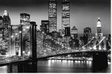 New York - Manhattan Black Reproduction sur toile tendue