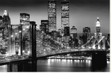 New York - Manhattan Black Kunstdruk op gespannen doek