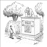 Man walking a dog passes a statue engraved, 'Audited To Death.' - New Yorker Cartoon Stretched Canvas Print by Tom Cheney
