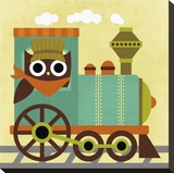 Owl Train Conductor Stretched Canvas Print by Nancy Lee