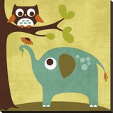 Owl and Elephant Stretched Canvas Print by Nancy Lee