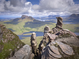 View from Summit of Sgorr Tuath, Sandstone Pinnacles, Assynt Mountains, Highland, Scotland, UK Photographic Print by Joe Cornish