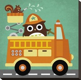 Owl in Firetruck and Squirrel Stretched Canvas Print by Nancy Lee