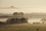View Towards Glastonbury Tor from Walton Hill at Dawn, Somerset Levels, Somerset, England, UK Photographic Print by Guy Edwardes