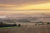 Dawn Mist and Rolling Chalk Downland, Wilmington Hill, Wilmington, South Downs Np, East Sussex, UK Photographic Print by Guy Edwardes