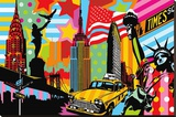 New York Taxi I Stretched Canvas Print by  Lobo