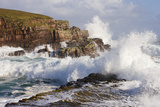 Waves Crashing over Rocks, Coastline Near Point of Stoer, Assynt, Sutherland, Nw Scotland, UK Photographic Print by Mark Hamblin