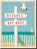 Beaches vs. Rat Race Stretched Canvas Print by  Anderson Design Group