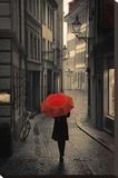 Red Rain Stretched Canvas Print by Stefano Corso