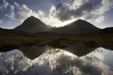 Quinag (Sail Ghorm and Sail Gharbh) and Moorland Pool, Assynt, Sutherland, Nw Scotland, UK, October Photographic Print by Mark Hamblin