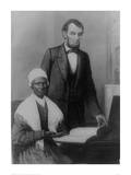 US President Abraham Lincoln at the White House in 1861 with Sojourner Truth Reproduction procédé giclée