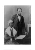 US President Abraham Lincoln at the White House in 1861 with Sojourner Truth Giclee Print