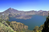 Panoramic View over the Lake Inside the Crater of Rinjani, Lombok, Indonesia Photographic Print by Mark Taylor