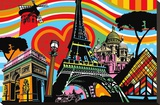 Paris l'amour Stretched Canvas Print by  Lobo