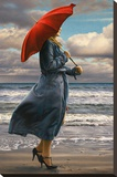 Red Umbrella Stretched Canvas Print by Paul Kelley