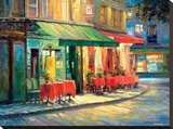 Red & Green Café Stretched Canvas Print by Haixia Liu