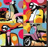 Scooter Pop Stretched Canvas Print by  Lobo