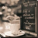 Café, Champs-Élysées Stretched Canvas Print by Alan Blaustein