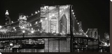 Brooklyn Bridge at Night Stretched Canvas Print by Jet Lowe