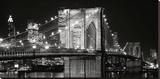 Brooklyn Bridge at Night Stretched Canvas Print by Jet Lowe