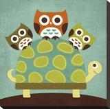 Three Owls on Turtle Kunstdruk op gespannen doek van Nancy Lee