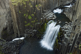 Litlanesfoss Waterfall, Hengifossá River, Basalt Lava Solidified in Hexagonal Columns, Iceland Photographic Print by O. Haarberg