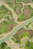 Aerial View of Marshes at Low Tide, Bahía De Cádiz Natural Park, Cádiz, Andalusia, Spain Photographic Print by  López