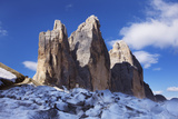 Tre Cime Di Lavaredo Mountain, Sexten Dolomites, South Tyrol, Italy, Europe, July 2009 Photographic Print by  Krahmer