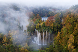 Veliki Prstavci Waterfalls Close to Gradinsko Lake at Dawn, Plitvice Lakes Np, Croatia, October Photographic Print by  Biancarelli