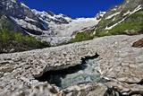 Alibek Glacier in Alibek Valley Near Dombay, Teberdinsky Biosphere Reserve, Caucasus, Russia Photographic Print by  Schandy